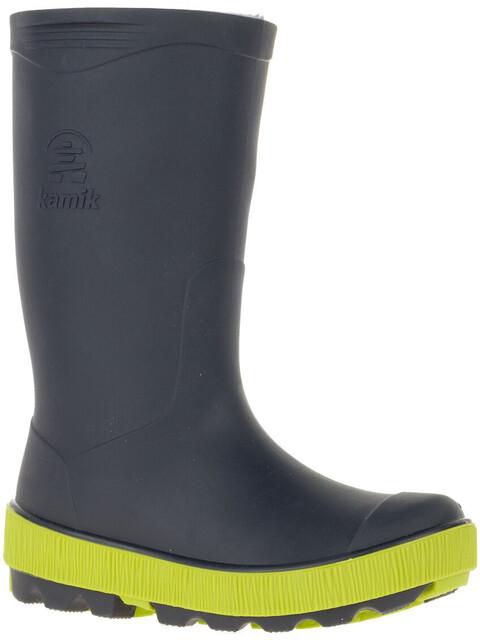 Kamik Riptide Rubber Boots Kids Navy/Lime